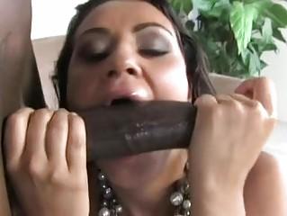 Pecker sucking brunette bitch gets huge black ramrod up her hairy minge