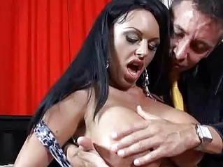 Heavy chested milf with darksome hair does deep throat
