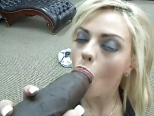 Breasty blonde slut with back tattoo rides on black bazooka