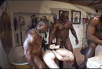 Thre large ribald black hungs fucking hard white slim guy