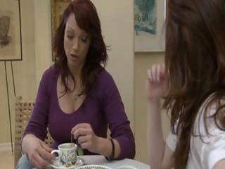 2 horny brunette MILF's have tea party and lick each others pussy