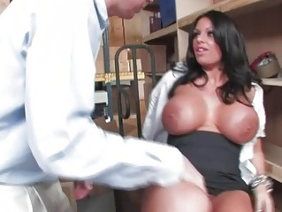 Brunette milf with huge balloons gets her wet cunny drilled in classroom