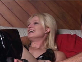 Blonde milf destroys guys ass hole with a strap on