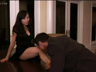 Christine Nguyen Sucks Cock and Receives Fucked On a Table - Softcore Sex Scene