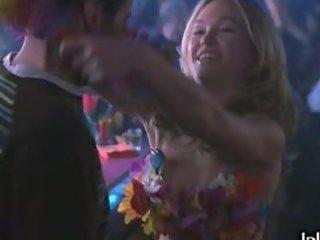 Golden-haired Babe Julia Stiles Dancing in Bikini in a Night Club