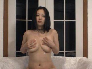 Horny Asian MILF Minako Komukai Masturbates in Sexy Black Lingerie