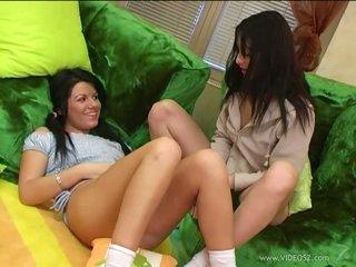 Lovely Brunette Lesbian babes Sharing a Fake penis