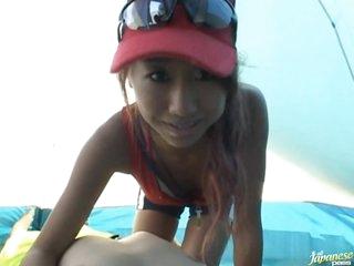 Cute Asian Teen Sucks Jock and Gets Fucked On the Beach