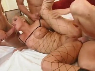 Leather boots hotty in a great gangbang