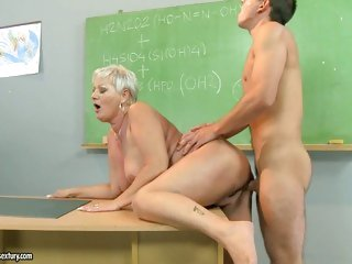 Hawt teacher Cecily takes a thick cock in her muff from behind