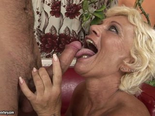 Horny grandma goes eager hot with a youthful man's throbbing cock