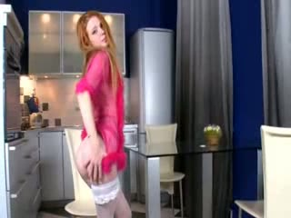 Sexy white stocking and vagina fingering