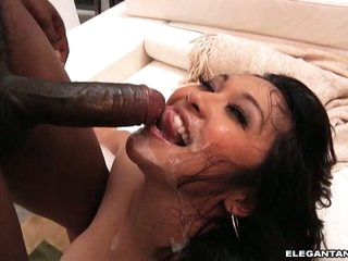 Mika Tan have some cum goo in her mouth