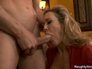 Milf whore Brandi Love sucks off a lucky man's nob like cum coated lollipop