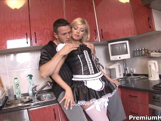 Hawt maid Donna Bell getting arsehole gangbanged hard