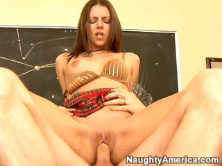Scorching sexy Missy Stone rides a hard cock with her warm pussy on the table