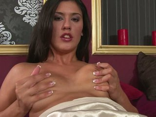 Diana Stewart is a pretty brunette that gets pleasure touching herself from top to toe. She rubs her tits and her shaved pussy. She gets much pleasure with her hand on her bare snatch.