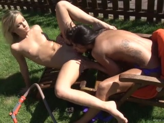 Sexy lesbians get nasty eating pussy in the backyard