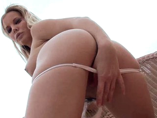 Blonde Rose is a lovely blonde with sexy long legs. perky natural tits. apple ass and shaved pussy takes off her panties flirtatiously and masturbates in the open air.