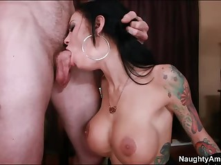 Tattooed brunette Angelina Valentine with breathtakingly sexy big fake boobs has sex skills that her partner gives a try and will never forget. She takes his hard dick extremely deep in her mouth and then in her shaved dripping wet pussy.