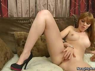 Marie McCray is naked and ready for everything to satisfy her sexual needs. She gives very nice blowjob and then rubs her shaved pussy to get it ready for sturdy meat pole of her buddy.