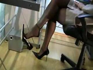 redhead secretary in nylons