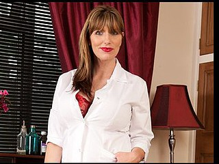 Sweet and breasty Anilos nurse frenzy copulates her muff with a vibrator