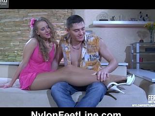 Barbara&Claudius nylon footfuck action