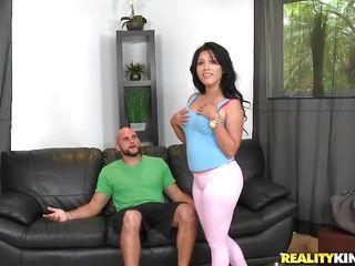 latina slut gives to bald guy a blowjob