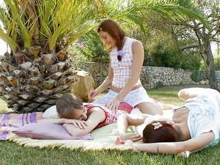 three sexy babes having fun outdoors