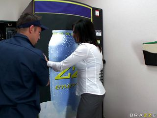 hot brunette fucking near a soda machine