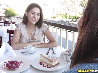 lesbians having sweet lesbian love after brunch
