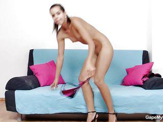 sweet brunette ferrera gaping her hot pussy