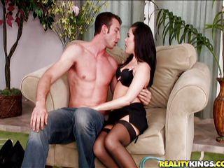 long hair brunette milf with a hot bush between her thighs