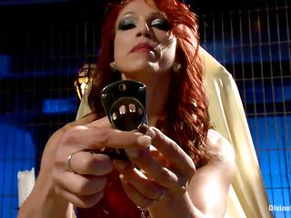 divine redhead bitch talking about one of her sex toys