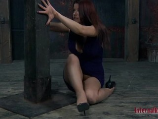 Gorgeous protest with bondage in her mouth gets her naughty cunt teased by sex toy