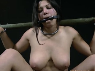 BDSM of the bitchy woman in the gas mask is punished cruelly