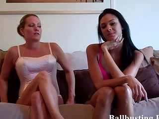 Ballbusting by two bitches
