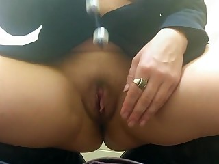 Pussy, Anal Beads Play and Pissing in a Public Toilet.