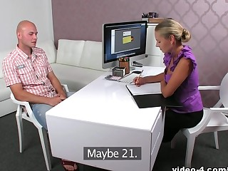 Bald guy David meets the female porn agent