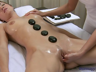Blonde lesbian Lola does massage to a very horny boy