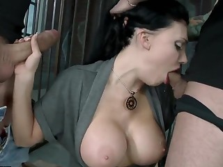 Horny Aletta Ocean is fucked hard in a prison