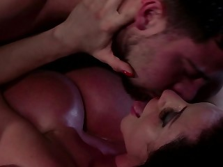 A busty brunette that has a fine cunt is rammed deeply by a dick