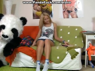 Hawt girl having enjoyment with her panda bear