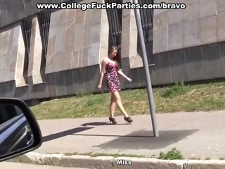 College girl screwed in the car