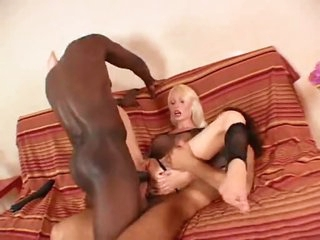 Breasty doxy in fishnet top does anal three-some