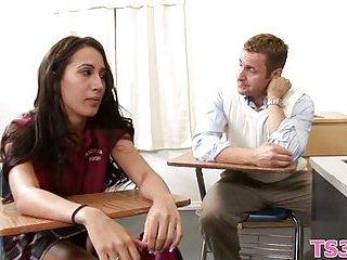 Posh schoolgirl gets cum on her back