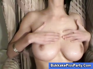 Busty cock loving wench blowjob