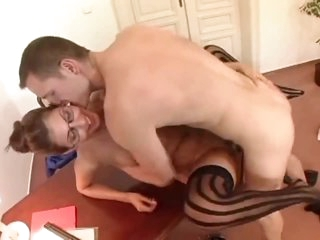 Shaved cookie secretary is hot and fucks hard