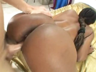 Dark girl and the white cock have sex